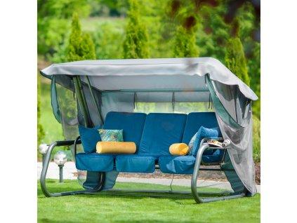 Zahradní houpačka Venezia Lux Velur s moskytiérou, polštářky a bočními stolky D036-01WB PATIO
