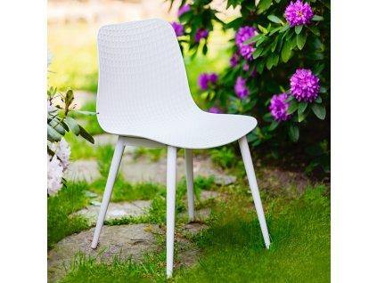 Plastová židle Kaia White PATIO II JAKOST ŠKRÁBANCE NA RÁMU