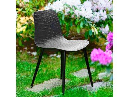 Plastová židle Kaia Black PATIO II JAKOST ŠKRÁBANCE NA RÁMU