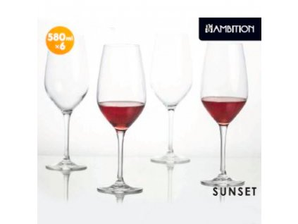 Sada 6 sklenic na víno Sunset 580 ml AMBITION