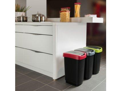 Odpadkový koš Twist Black-Red 25 l ROTHO