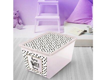 Box s víkem X Box Deco Dots 30 l BRANQ