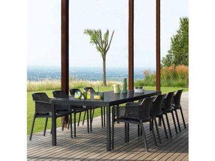 Rozkládací zahradní stůl Rio Antracite 100 x 140 / 210 x 76 cm NARDI