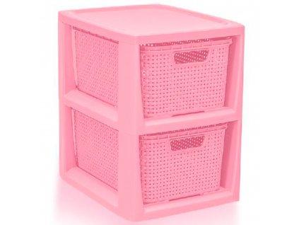 Regál se 2 šuplíky Rattan Pink BRANQ