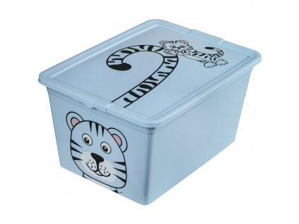 Dětský box s víkem X Box Deco Tiger Animal 30 l BRANQ