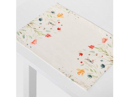 Sada 2 podložek na stůl z polyesteru Pastel Flowers 30 x 40 cm AMBITION