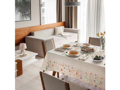 Dekorační ubrus z polyesteru Pastel Flowers 130 x 160 cm AMBITION