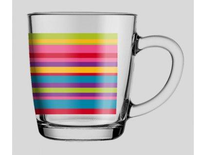 Průsvitný hrnek Basic Stripes 350 ml PASABAHCE