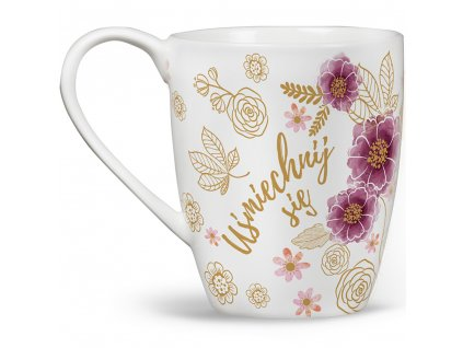 Porcelánový hrnek Minnie Flowers Gold 400 ml DISNEY PL NÁPISY