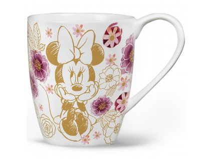 Porcelánový hrnek Minnie Flowers Gold 400 ml DISNEY PL NÁPISY