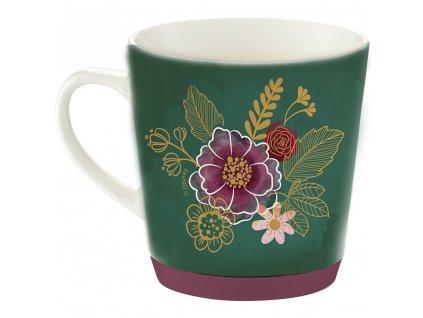 Porcelánový hrnek se silikonem Minnie Flowers Green 320 ml DISNEY PL NÁPISY