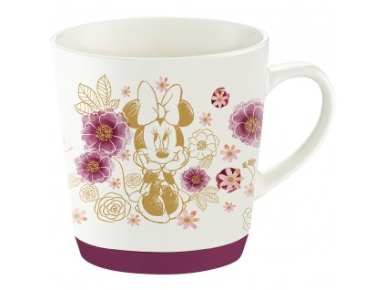Porcelánový hrnek se silikonem Minnie Flowers Gold 320 ml DISNEY PL NÁPISY