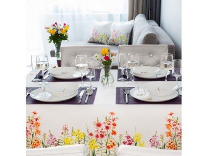 Dekorační ubrus z polyesteru Juicy Flowers 160 x 280 cm AMBITION