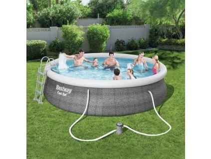 Nadzemní bazén s límcem a příslušenstvím Fast Set Gray 457 x 107 cm BESTWAY