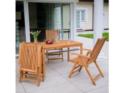 Dřevěné zahradní skládací křeslo Akacja 56 x 75 x 103 cm PATIO
