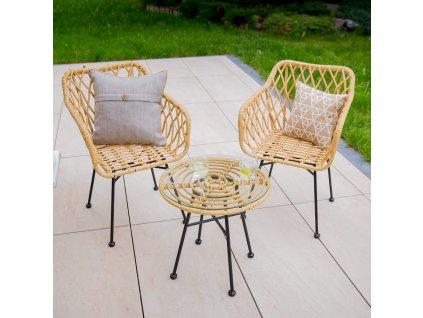 Zahradní stůl z technorattanu Desire Beige 50 cm PATIO