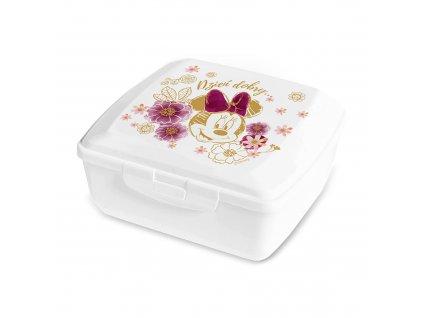 Svačinový box Minnie Flowers White 14,5 x 13 cm PL NÁPISY DISNEY