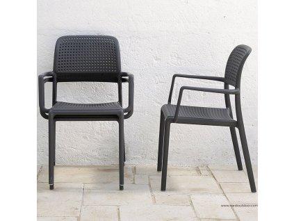 Plastová zahradní židle Bora Antracite NARDI