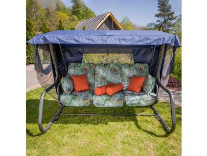 Zahradní houpačka Venezia Lux s moskytiérou, polštářky a bočními stolky G036-02LB PATIO