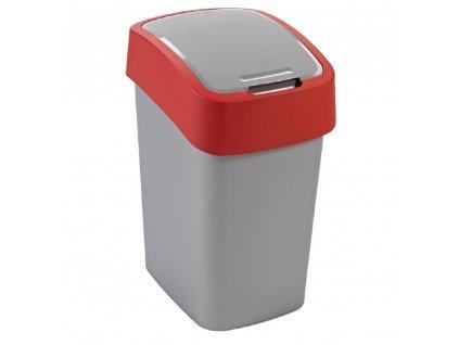 Odpadkový koš na tříděný odpad Flip Bin Silver-Red 50 l CURVER