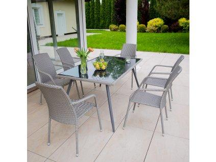 Zahradní stůl z technorattanu Lupus Grey  150 x 90 x 73 cm PATIO