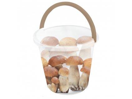 Plastový kbelík s potiskem Hřiby 10 l BRANQ
