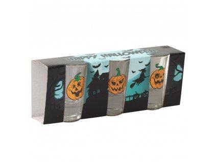 Sada 3 skleniček Halloween Pumpkin na likér / vodku 35 ml