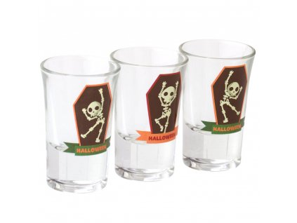 Sada 3 skleniček Halloween Skeleton na likér / vodku 35 ml