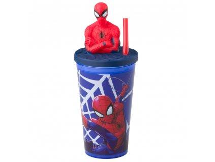 Sportovní láhev s figurkou a slámkou Spiderman Spidey 440 ml DISNEY