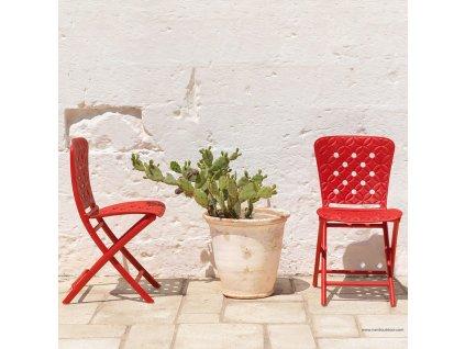 Plastová skládací zahradní židle Zac Rosso NARDI