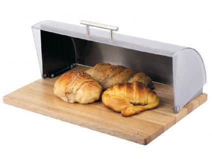 Chlebník s dřevěným podstavcem Logan Grey AMBITION