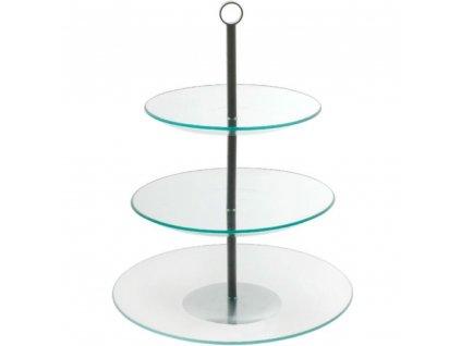 Třípatrový skleněný servírovací tác Leila 30 cm AMBITION