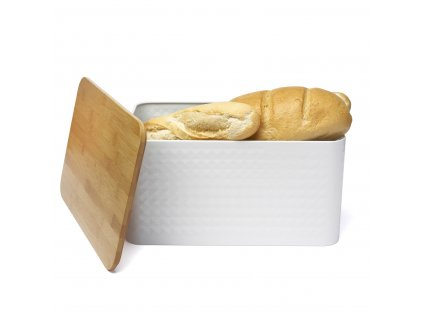 Kovový chlebník Geometric II Bílý