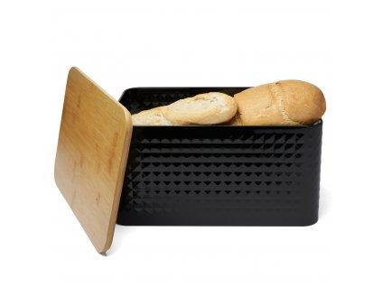 Kovový chlebník Geometric II Černý