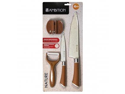 Set nožů s bruskou a škrabkou Nature 4-díly AMBITION