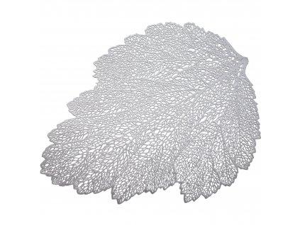 Podložka na stůl Glamour Leaf Silver PVC/PS 30 x 45 cm AMBITION