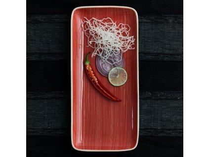 Porcelánový servírovací talíř Terra Red 36 x 16,5 cm ARIANE