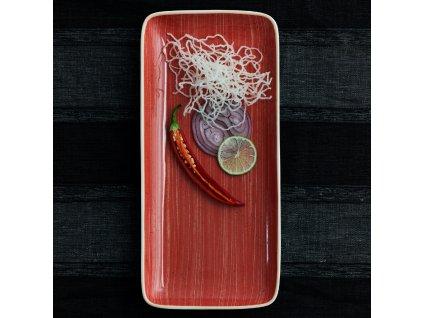 Porcelánový servírovací talíř Terra Red 28 x 14 cm ARIANE