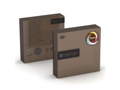 Sada 20 ubrousků Fusion Choco 33 x 33 cm AMBITION