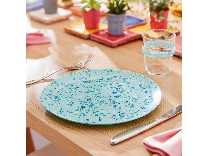 Mělký talíř  Venizia Light Turquoise 25 cm LUMINARC