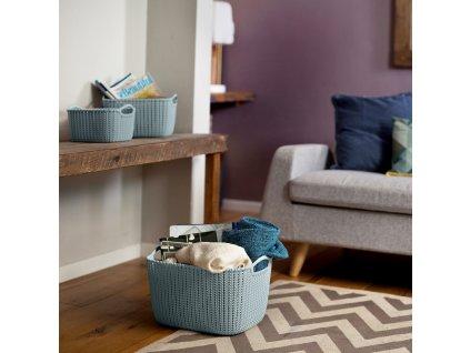 Plastový košík Knit GrayBlue velikost L 40 x 30 cm CURVER