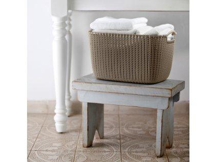 Plastový košík Knit GrayBrown velikost L 40 x 30 cm CURVER