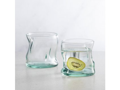 Sada 4 nízkých sklenic Recykling Basic tyrkysový odstín 340 ml PASABAHCE
