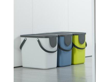 Sada 3 košů na na tříděný odpad Albula 25 l Lime + Blue + White ROTHO