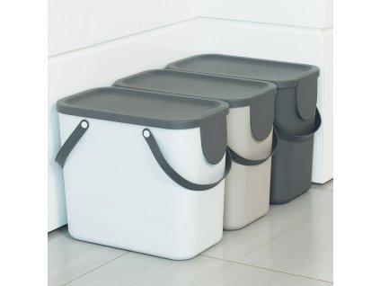 Sada 3 košů na na tříděný odpad Albula 25 l Cappuccino + Antracit + White ROTHO