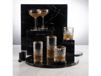 Sada 4 vysokých sklenic Timeless Gold Ring 450 ml PASABAHCE