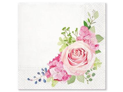 Sada 20 ubrousků Růžové růže 33 x 33 cm