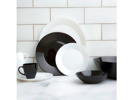 Jídelní a kávový servis Harena Black-White 38-dílů LUMINARC