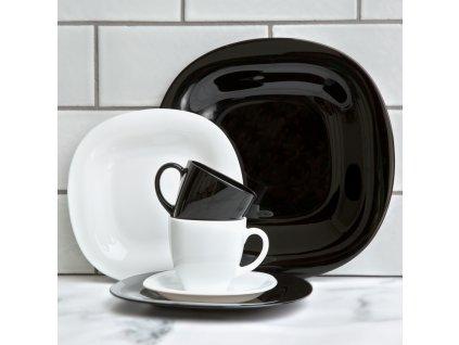 Jídelní a kávový servis Carine Neo Black & White 38-dílů LUMINARC