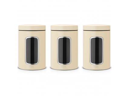 Sada 3 nádobek s okýnkem Almond 1,4 l  BRABANTIA